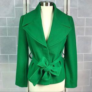Zara belted jacket coat green L